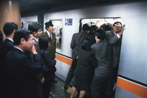 TOKYO, JAPAN - 1997/10/01: Rush hour at Shibuya subway station in Tokyo. (Photo by Gerhard Joren/LightRocket via Getty Images)
